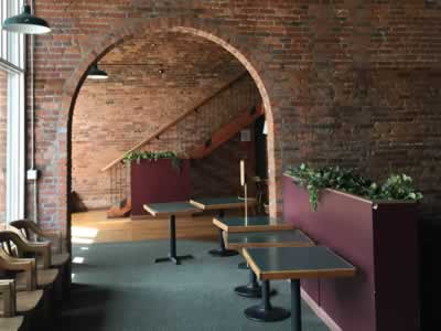 archway to lounge/customer waiting area